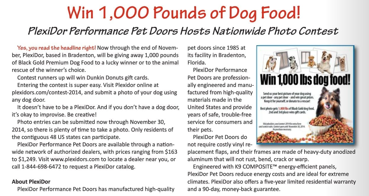PlexiDor pet food contest featured in Sarasota Pet