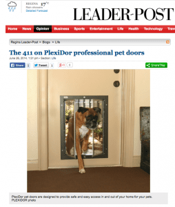 PlexiDor dog doors and cat doors featured in the Regina Leader Post