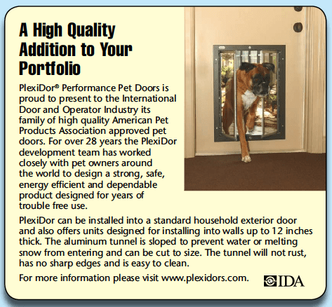 PlexiDor Pet Doors featured in International Door & Operator