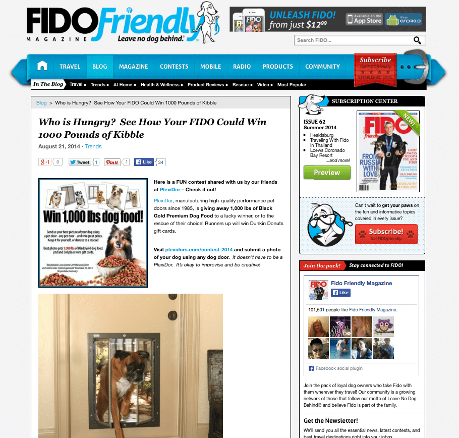 PlexiDor photo contest featured in Fido Friendly Magazine