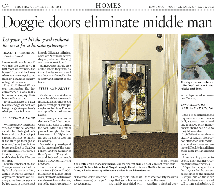PlexiDor dog doors in the Edmonton Journal