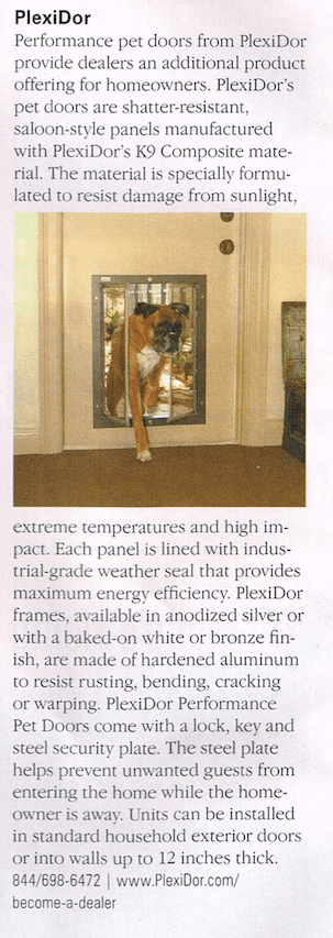 PlexiDor pet doors in Window and Door Magazine
