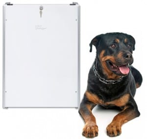 PlexiDor dog door with mounted sliding track and security plate. Extra Large.